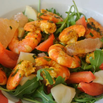 Crevettes marinées au curry