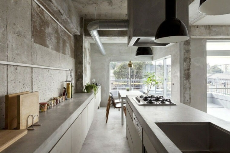 cuisine-zen-beton-design-moderne-plantes-vertes