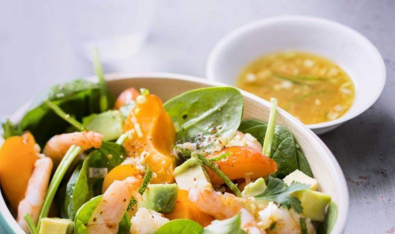Salade de crevettes pimentées et avocat