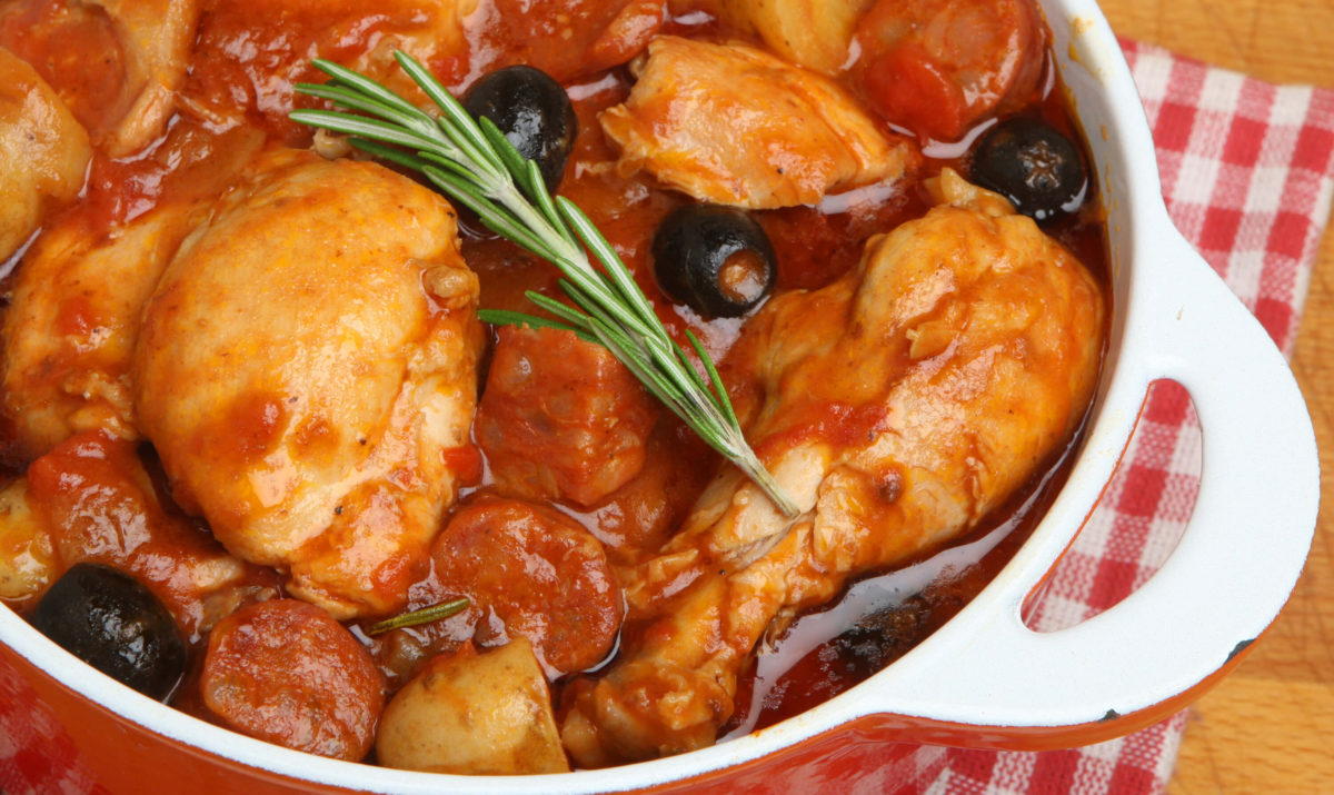 Poulet au chorizo et aux olives