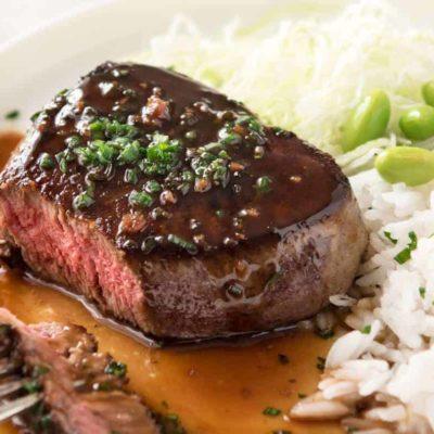 Steak à la sauce soja et au gingembre