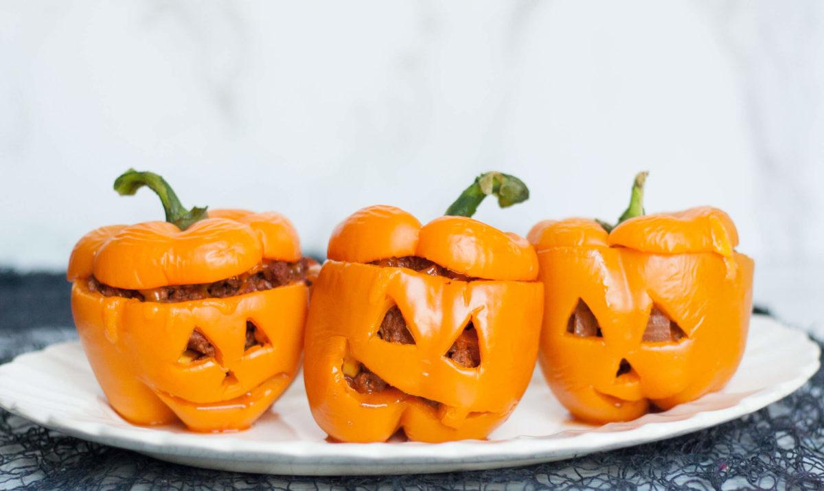 Poivrons farcis pour Halloween